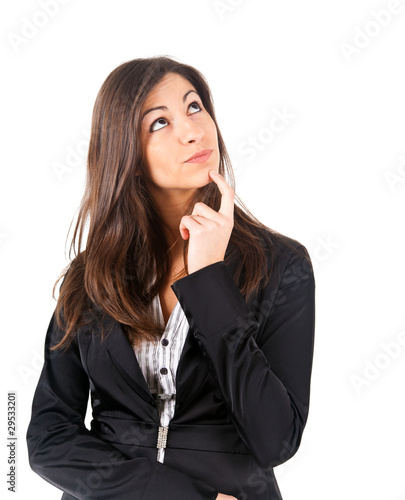 Portrait of a businesswoman in deep thought.White background