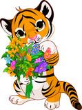 Fototapete Glückwunsch - Blumenstrauss - Säugetiere