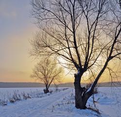 zachód słoncia w zimę