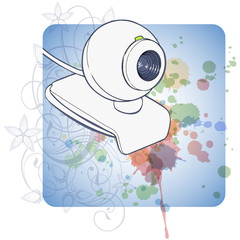 Web camera & floral color paint background