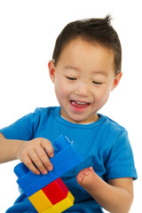 Happy Chinese boy with ligth handicap