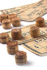 Old vintage bingo cards and numbers