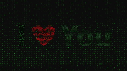 love text appears from matrix