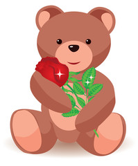 Teddy bear holding red rose. vector illustration