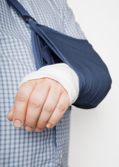Man with arm in bandages and sling