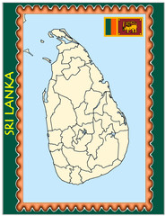 Sri Lanka national emblem map coat flag business background