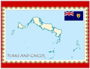 Turks Caicos national emblem map coat flag business background
