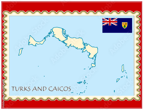 Turks Caicos national emblem map coat flag business background