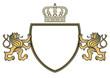 Wappen mit zwei Löwen und Krone