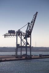 A single dockside crane