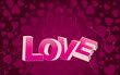 Pink valentine background with big LOVE word and curls