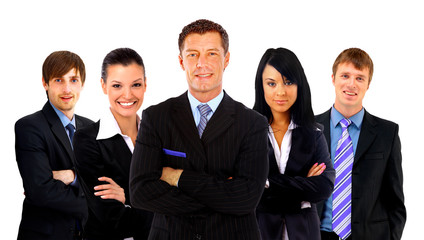 business man and his team isolated over a white