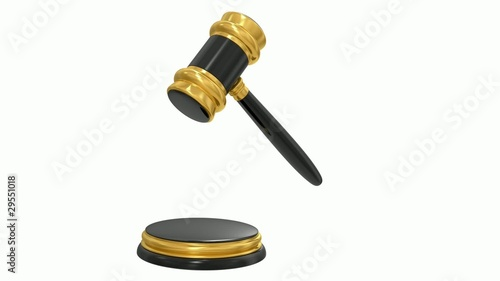 gold judge gavel.  Alpha channel is included