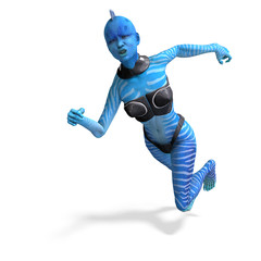 blue female alien running. 3D rendering with clipping path and