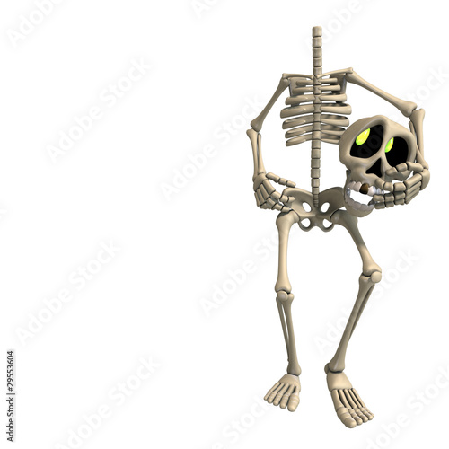 Illustration Very Funny Cartoon Skeleton Rendering With Clipping