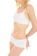 Part of beautiful fit slim woman body in white underwear. isolat
