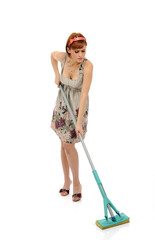 Beautiful angry house woman cleaning the floor. isolated on whit