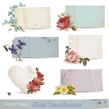 Vector set: kwiatów, banery, papier