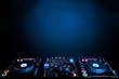 canvas print picture - DJ turntables and electronic mixer