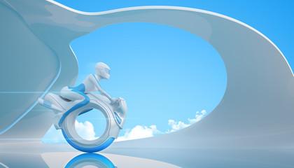 Biker riding futuristic mono wheel bike. Huge series.