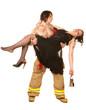 Sexy fireman rescuing pretty woman
