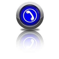Button Kontakt dunkelblau rund