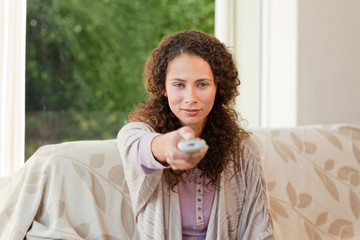 Woman with her remote