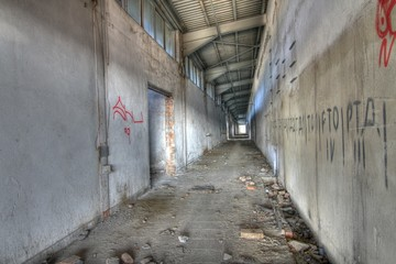 HDR background of abandoned building