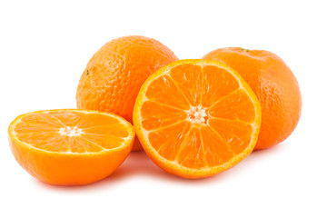 Full and sliced ripe tangerines