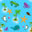 Pattern seamless with sea animals, palm