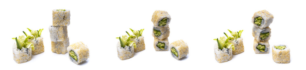 Vegetable rolls and sushi