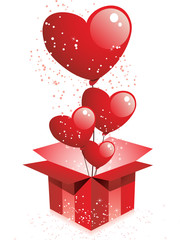 Happy Valentine's Day  Gift with Hearts Balloons