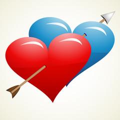 Arrow through hearts