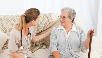 Nurse talking with her patient