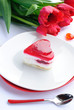 Valentine's day theme - Cake in shape of heart and tulip flowers
