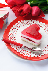 Valentine's day cake and flowers