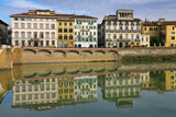 medieval buildings on quay of Arno poster