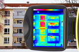 tenement house and screen of thermal imaging camera