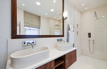 bathroom with double hand wash basin