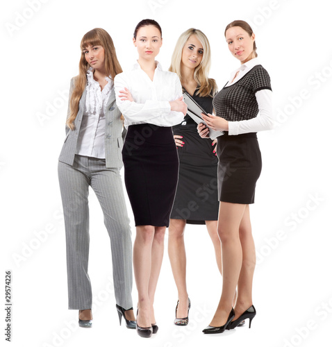 women leader of team isolated over white