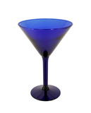Cobalt blue wine glass on white