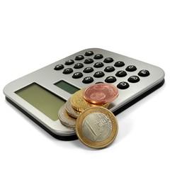 Taschenrechner mit Euromünzen