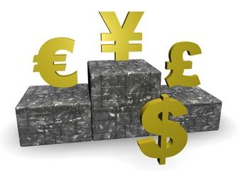 Dollar, Euro and Yen on Podium