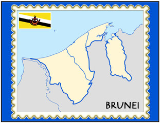 Brunei national emblem map coat flag business background