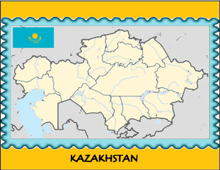 Kazakhstan national emblem map coat flag business background