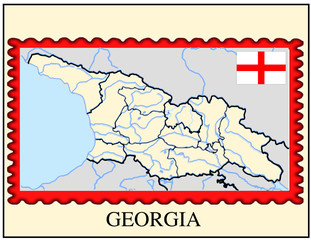 Georgia national emblem map coat flag business background