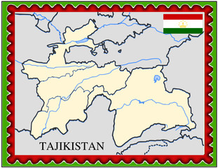 Tajikistan national emblem map coat flag business background