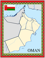 Oman national emblem map coat flag business background