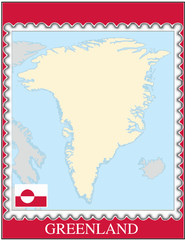 Greenland national emblem map coat flag business background