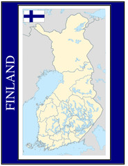 Finland national emblem map coat flag business background